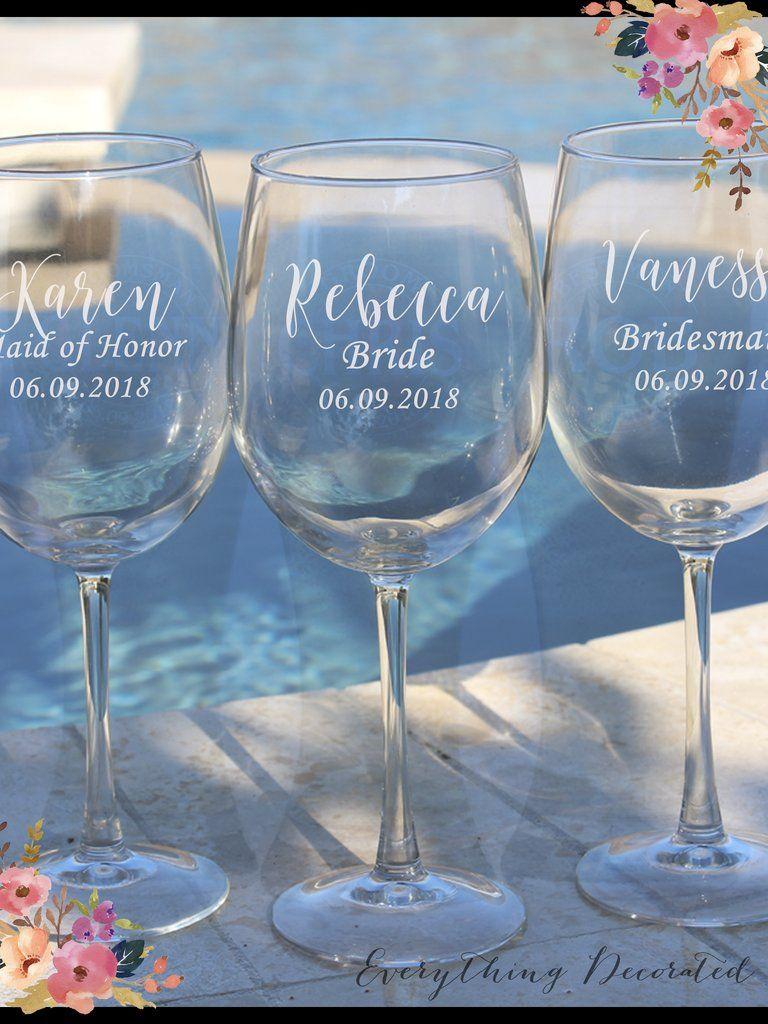 Personalised Engraved Wine Glass Any Message Weddings Bridesmaid Birthdays etc