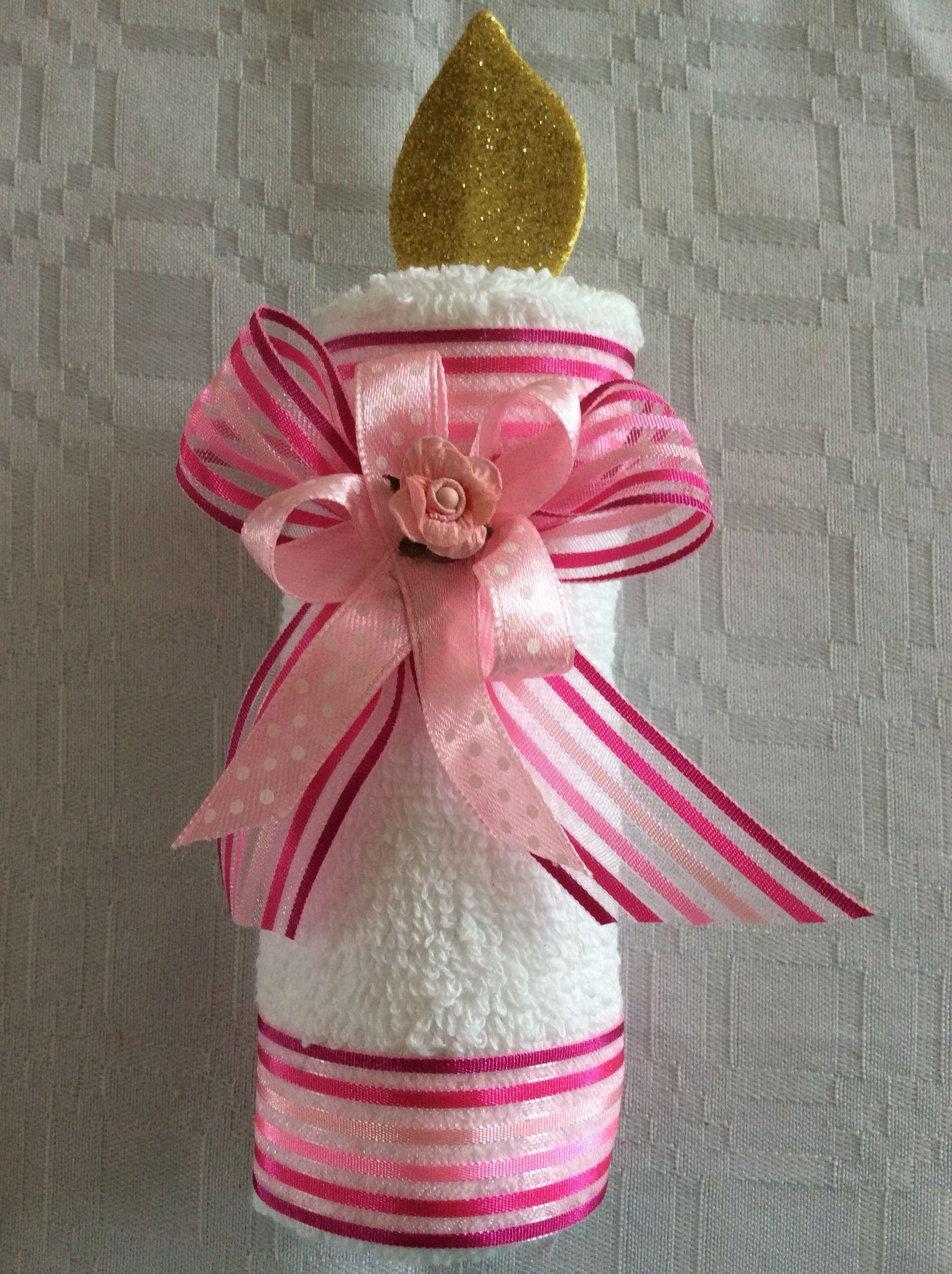 Vela de toalla de manos recuerdo para bautizo ceremonias for Adornos con toallas