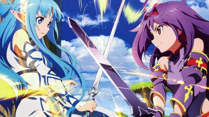 Asuna Vs Yuuki Konno Sword Fight Alfheim Online Anime Girls Art 2 4096x2340