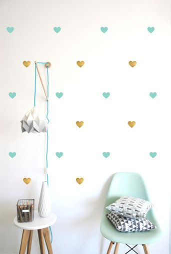 0bdb3a6001eab2 Pom Gold and Turquoise Heart Wall Decals available for international ...