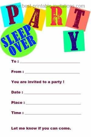 sleepover birthday party invitations free printable