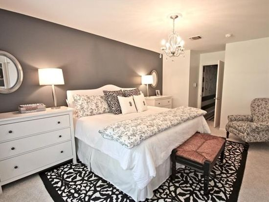 Great Master Suite - I actually like this but I would paint the wall something other than gray. A muted shade of purple or something.