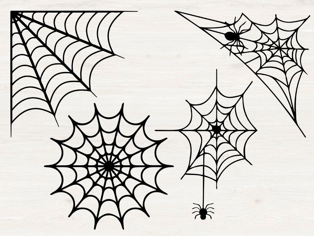 Spiderweb Svg Spiderweb Svg Eps Dxf Png Cutfiles For Etsy Clip Art Vintage Spider Web Art