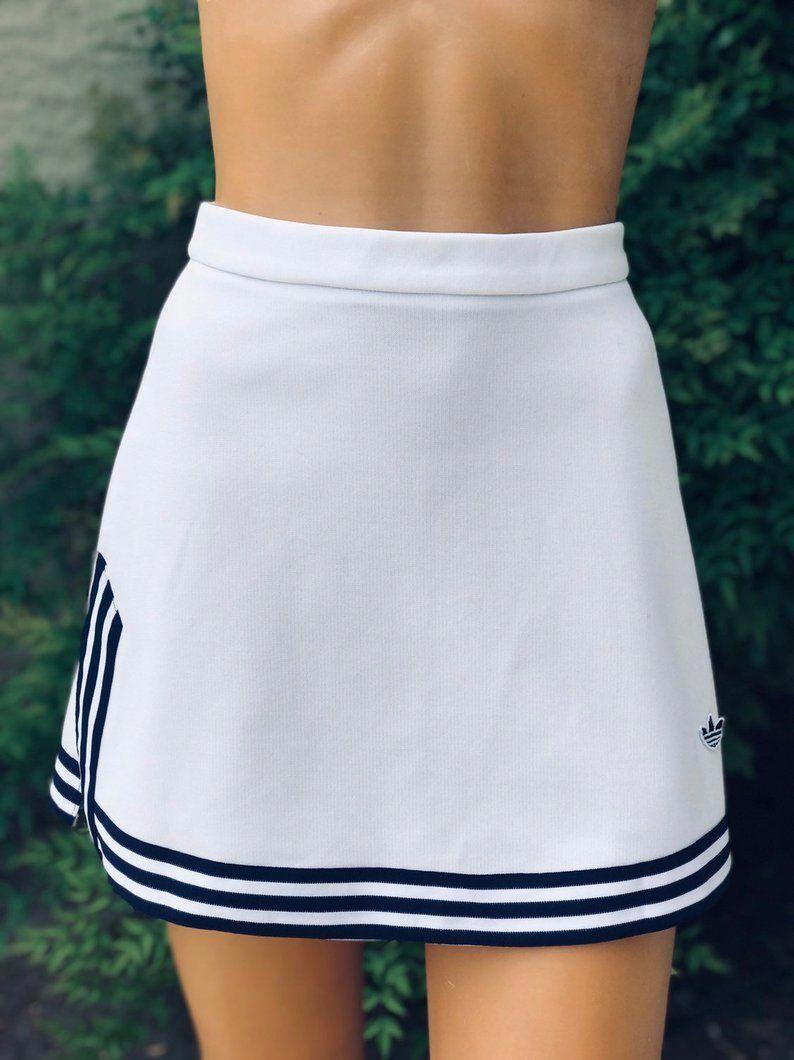 Vintage 1970s Adidas Light White Polyester Tennis Dress Navy Blue Trim Shoulders Tennis Dress Tennis Skirt Outfit Cute Golf Outfit