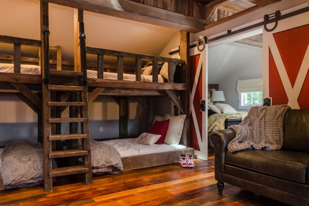 kids' rustic room with bunk beds and barn door | fresh face, space