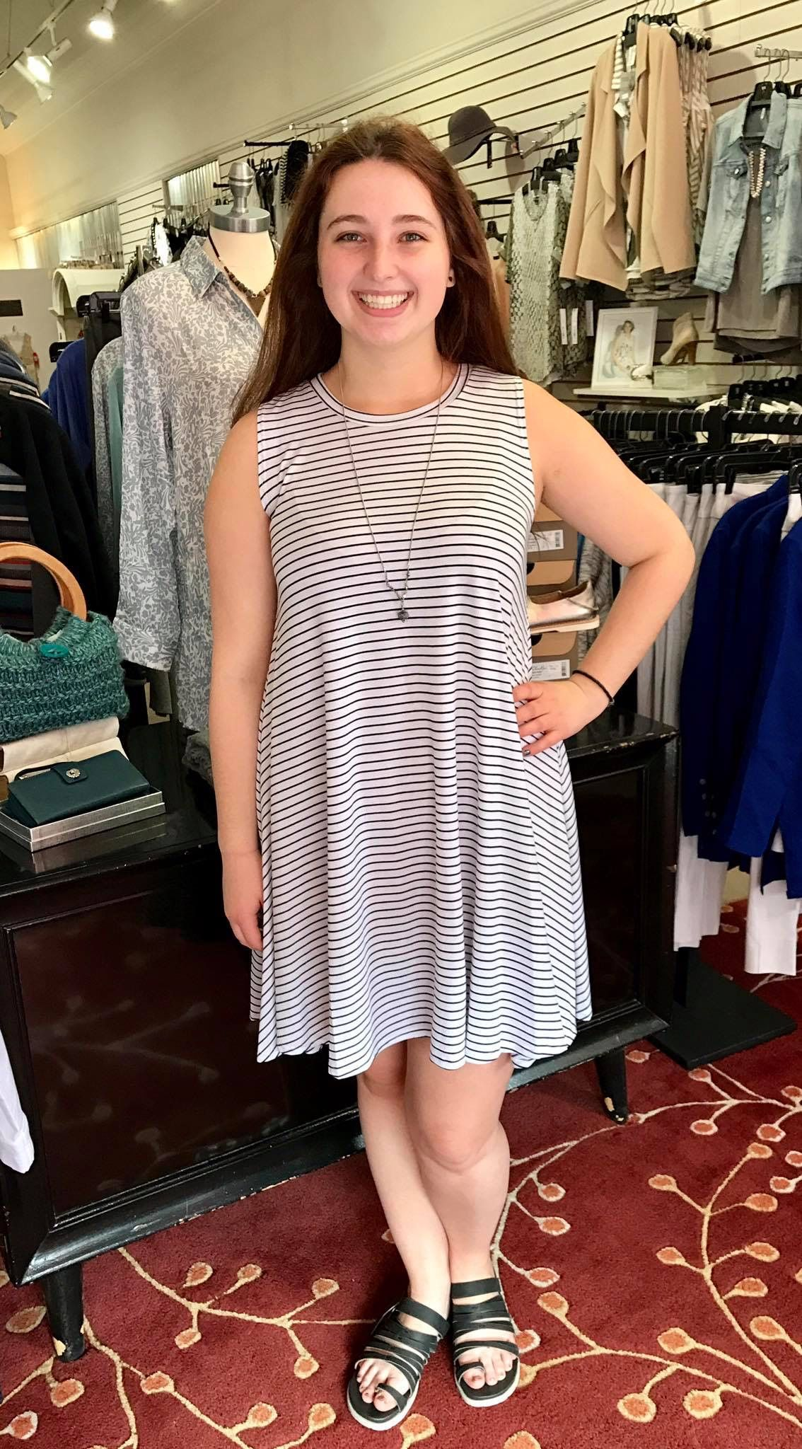 Our new black and white pin striped flounce dress by #CieloBlu! Perfect dress for a hot day! @Pipsboutique