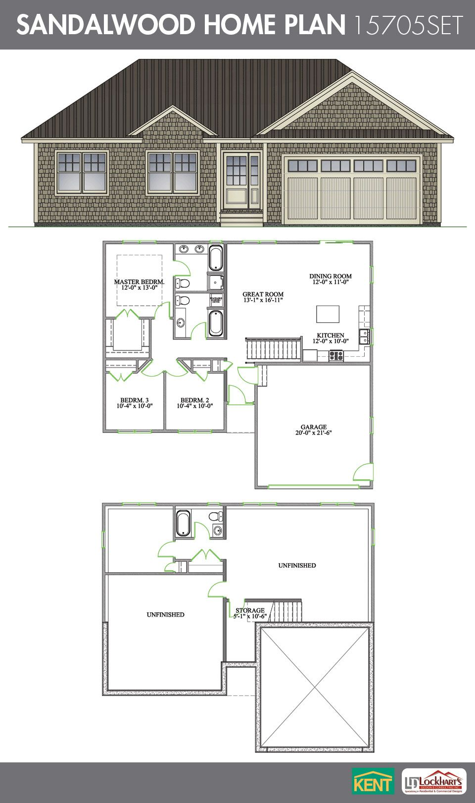 Sandalwood 4 Bedroom 3 Bath Home Plan Features Open Concept Living Kitchen Dining Room A