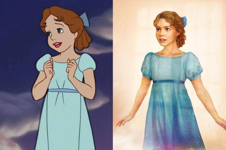 Wendy de Peter Pan versión caricatura y versión realista