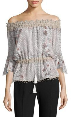 435bf839ce0d Elie Tahari Zoia Floral Lace Off-The-Shoulder Bell Sleeve Blouse ...