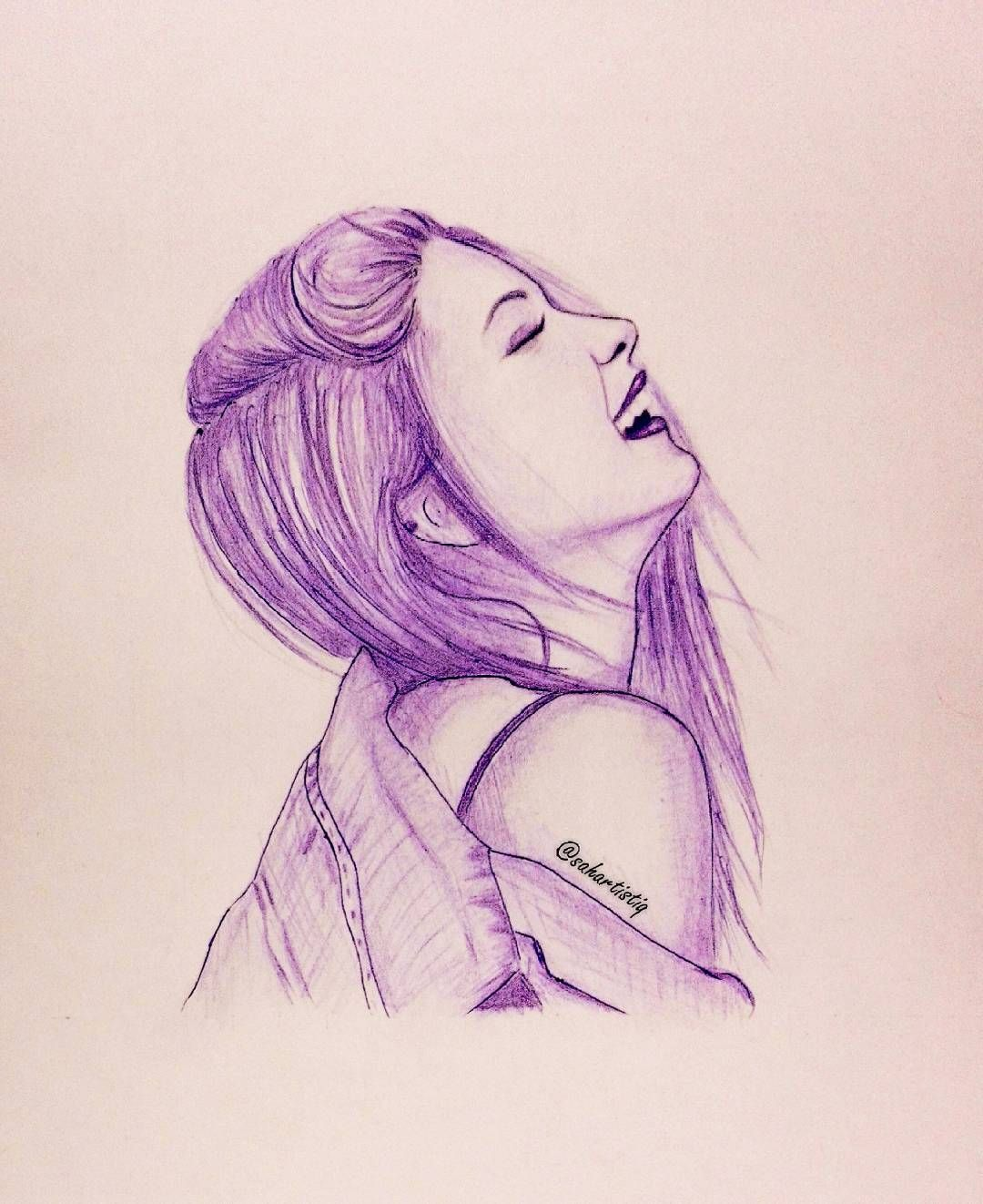 Purple Colour Pen Happy Cute Pretty Girl Sketch Hair