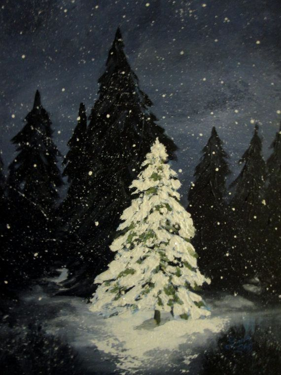 Textured Winter Christmas Tree Painting By