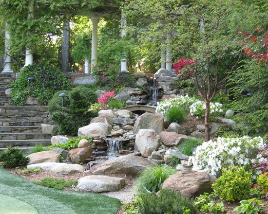 Tuscan Landscape Design Down Slope Pool Design Pictures Remodel Decor And Ideas Page 51 Sloped Garden Backyard Landscaping Designs Waterfalls Backyard