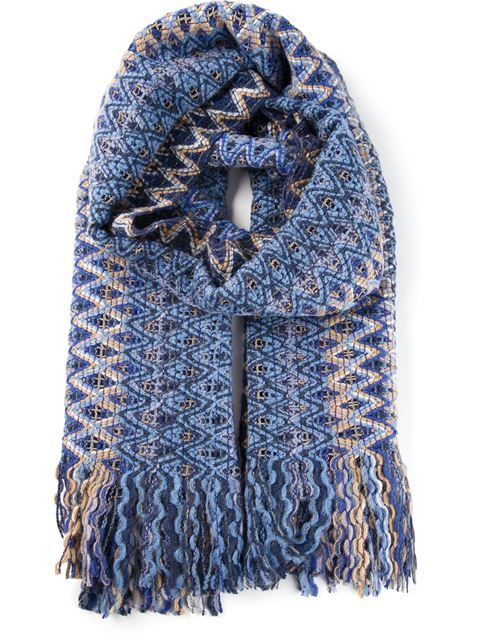Shop Missoni zig zag knit fringed scarf in Spinnaker 141 from the world's best independent boutiques at farfetch.com. Over 1000 designers from 300 boutiques in one website.