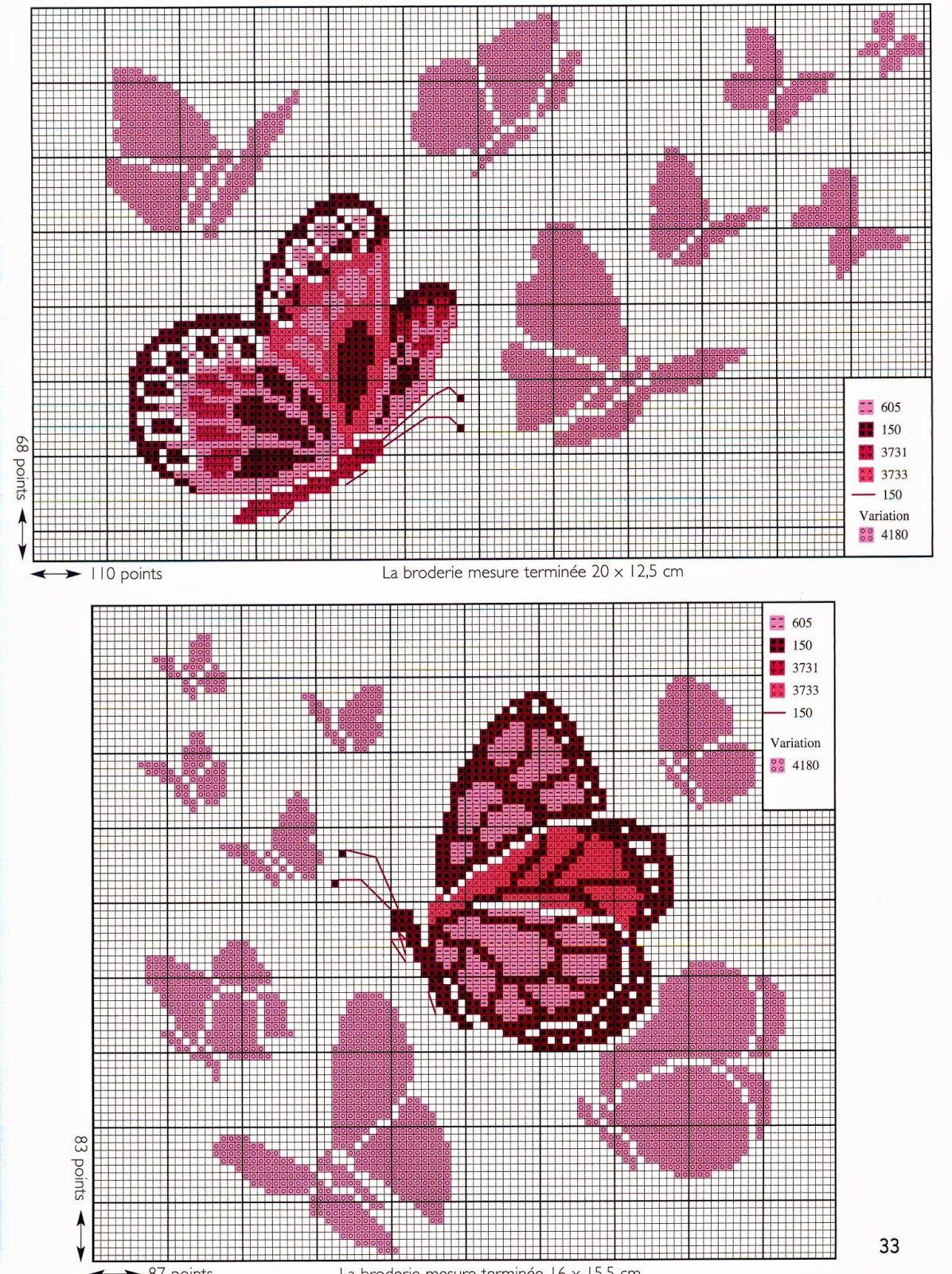 Ricamo e schemi a puntocroce gratuiti tante farfalle da for Farfalle punto croce schemi gratis
