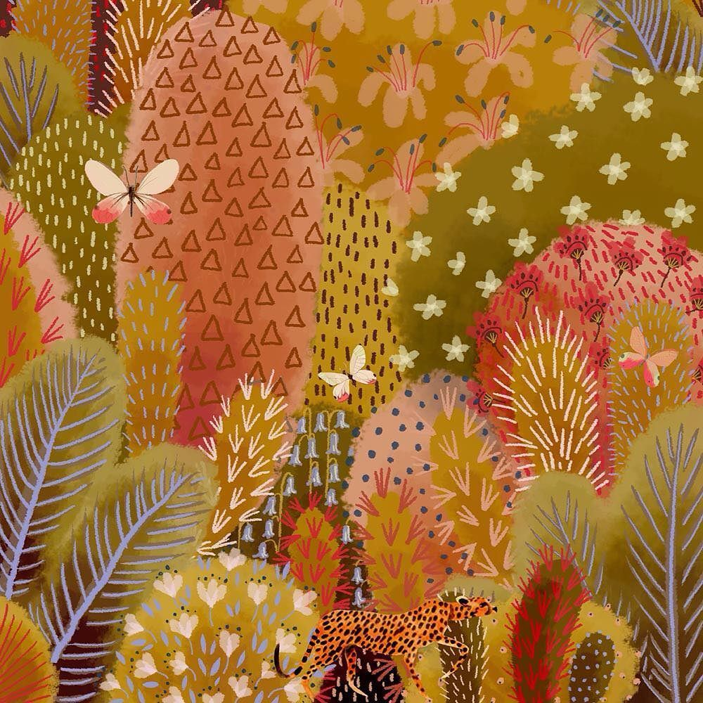 Cheetah sneaking past #colour_collective #bluebell jane newland (@janenewland) | Twitter #jungle #cheetah … | Jungle illustration, Naive art, Landscape illustration