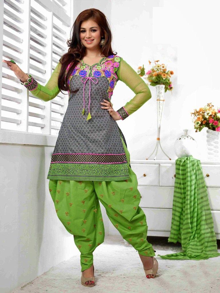 Fashionable Green Grey Ayesha Takia Patiala Salwar Suit Buy Online ...