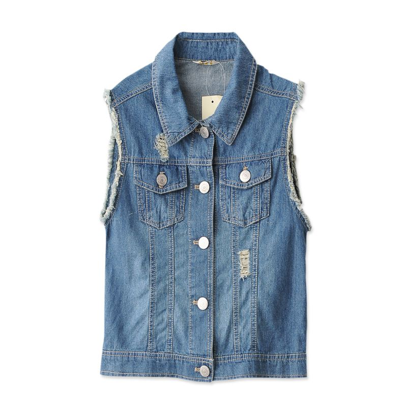 807-QL01 holes tassel  lady Han denim vest waistcoat jacket sleeveless woman