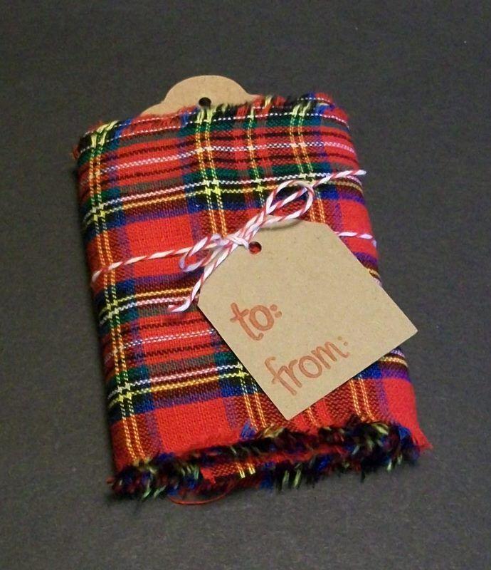 Tartan Plaid Fabric Ribbon Kit Kraft Tags/Bakers Twine Assortment