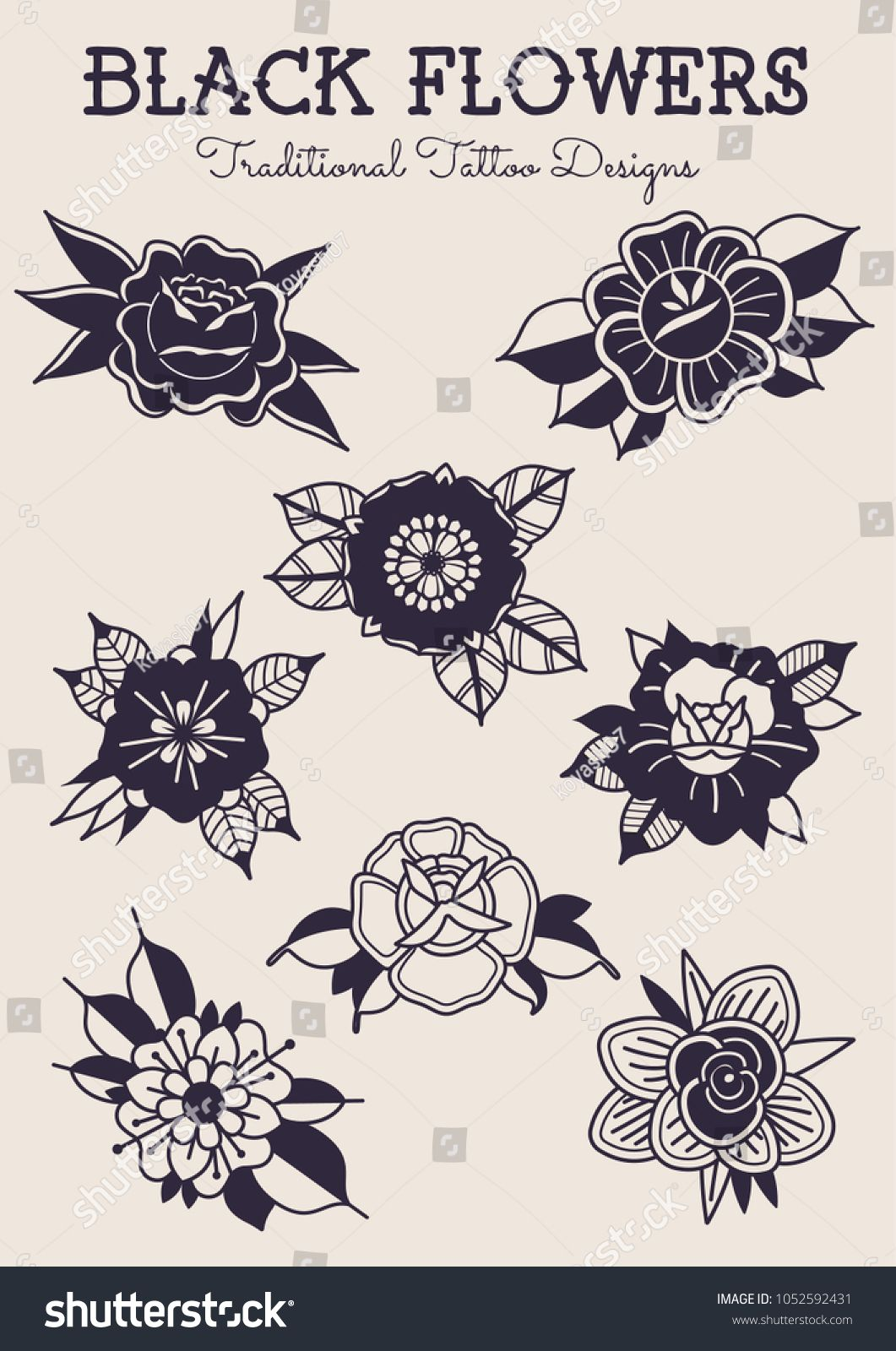 Black Flowers Traditional Tattoo Designs Stock Vector Royalty Free 1052592431 Traditional Tattoo Design Traditional Tattoo Flowers Black Art Tattoo