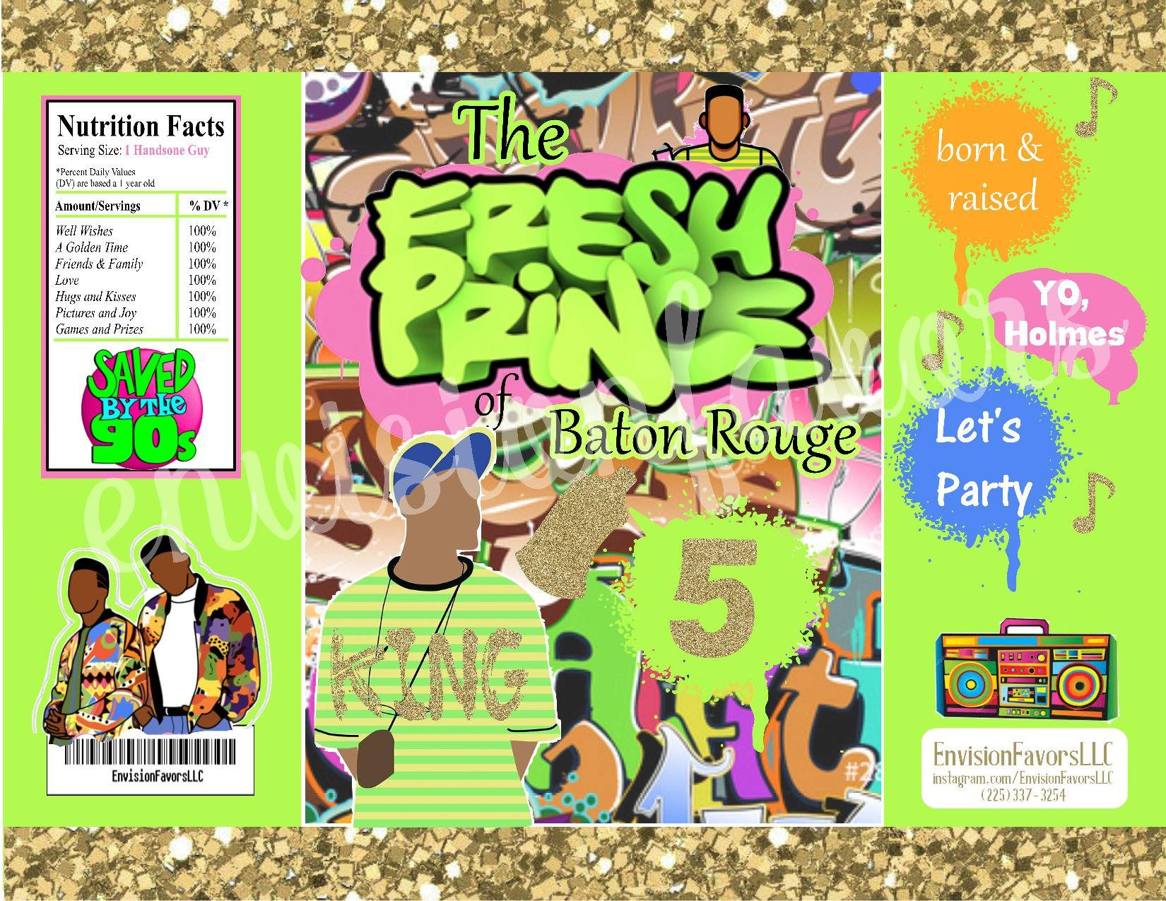Fresh Prince 90s hip hop chip Bags|Birthday|Custom Party