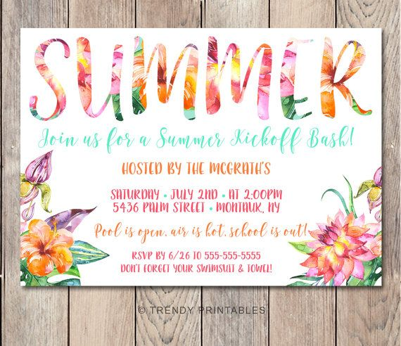 Pool Party Invitation Summer Party Invitation By Trendyprintables