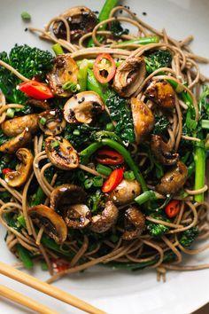 roasted teriyaki mushrooms and broccolini soba noo