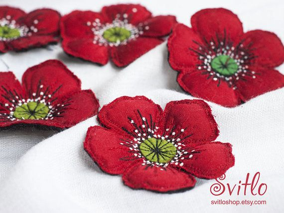 Red poppy textile brooch Fabric flower jewelry Single flower hand made brooch Machine embroidery poppy brooch Unique textile flower brooch #flowerfabric
