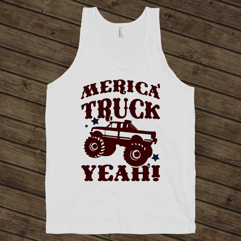 Merica, Truck Yeah! on a White Tank Top