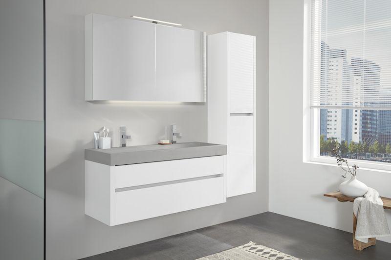 Beton in de badkamer: badkamermeubel Beat 2.0 met betonnen wastafel ...