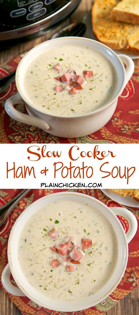 {Slow Cooker} Ham and Potato Soup - frozen hash browns, cream cheese, chicken broth, ham, Worcestershire sauce, onion and garlic - dump everything in the slow cooker and let it cook all day. SO good! Serve with some crusty garlic bread for a complete meal! Easy and delicious!