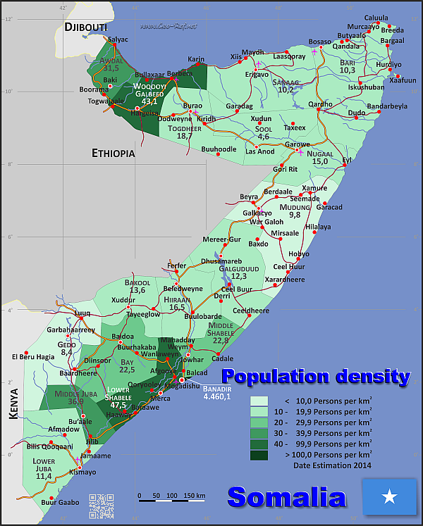 Somalia Potion Density Map | Somalia | Map, Horn of africa ... on