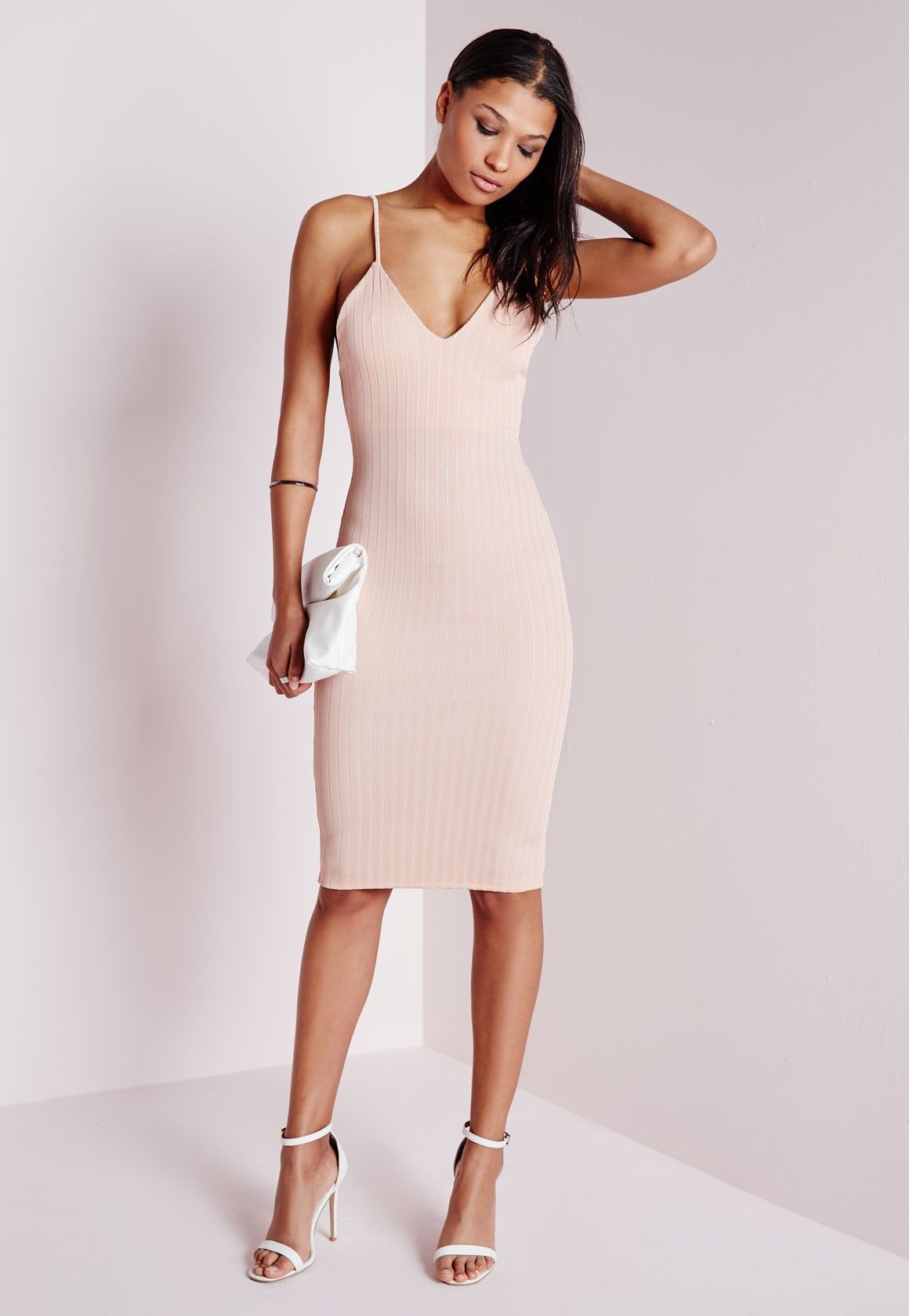 d23f4a65d18a Missguided - Ribbed Strappy Midi Dress Nude | Dress party | Cocktail ...