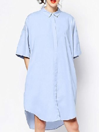 Blue Periwinkle Short Sleeve High Low Shirt Dress 17.51
