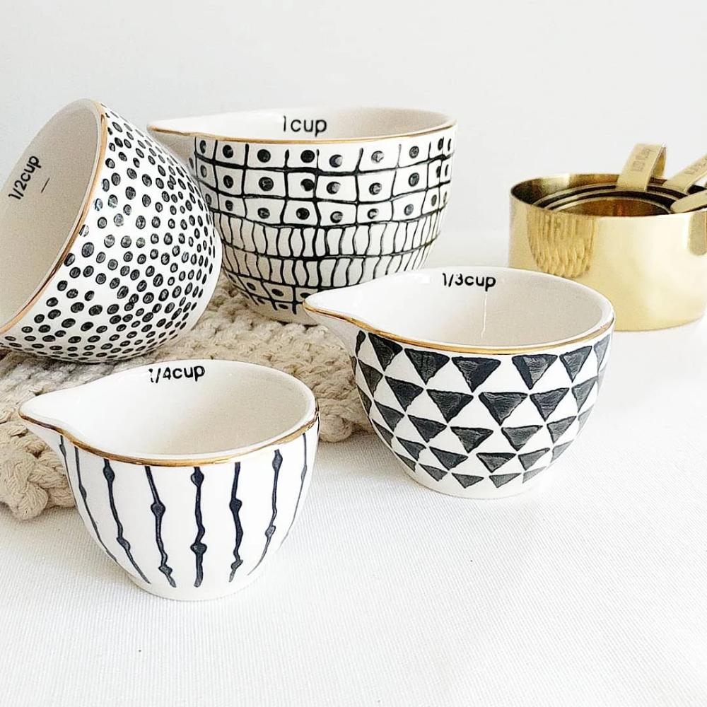 Modern Stoneware Measuring Cups Bowl Designs Modern Boho Decor Pottery