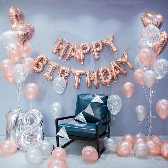 Rose Gold Happy Birthday Decoration Set 18th Birthday Party Ideas Themes And Decor 16t 18th Birthday Decorations Gold Birthday Party Birthday Party Balloon