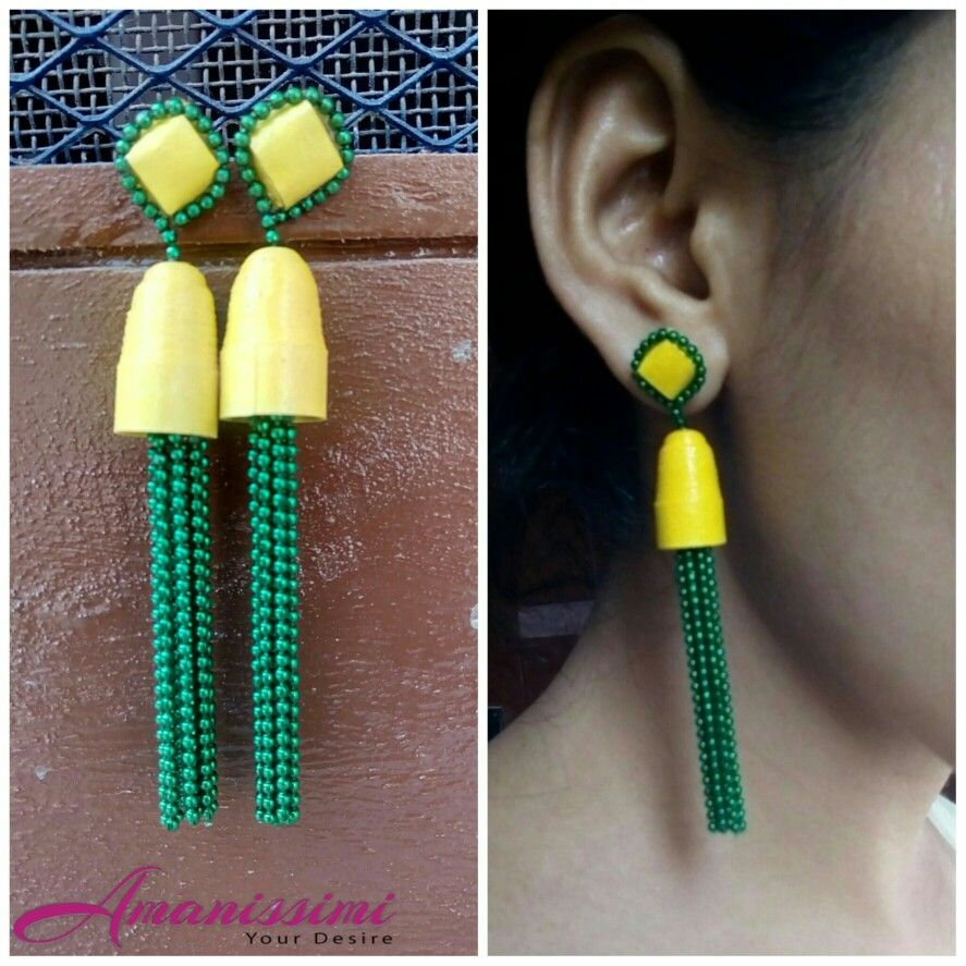 Yellow green chain paper quilling earrings handmade paper earrings