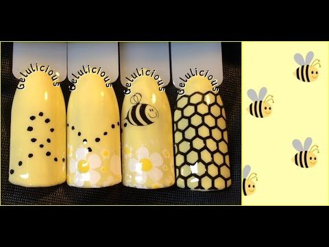 31 Day Nail Challenge Day 6 Yellow Bright Bumble Bee Nail Design