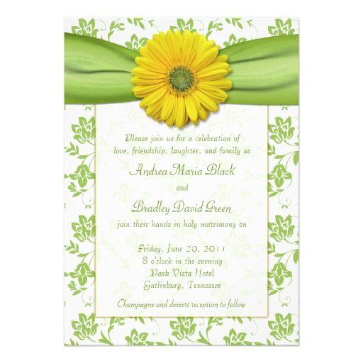 Yellow Green Damask Daisy Wedding Invitation