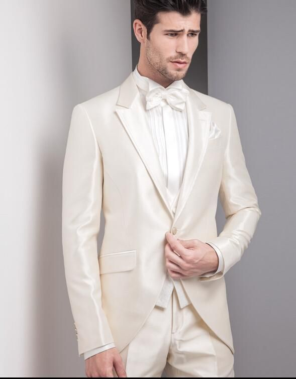 Beige Ivory Tuxedos 2016 Best Design One Button Men Suits For ...