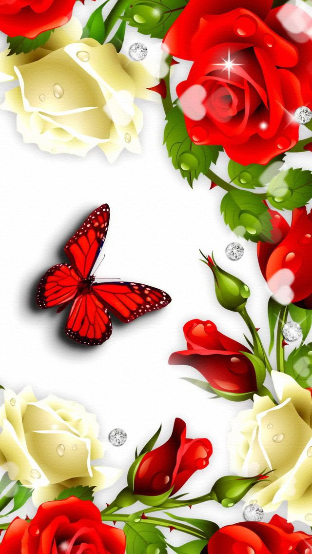 Butterfly and flowers iphone wallpaper background - Rose flowers wallpaper for mobile ...