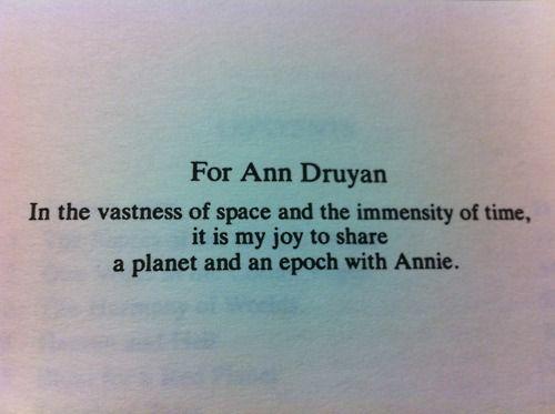 Carl Sagan Wrote This Dedication In Cosmos To The Love Of His Life Unique Carl Sagan Love