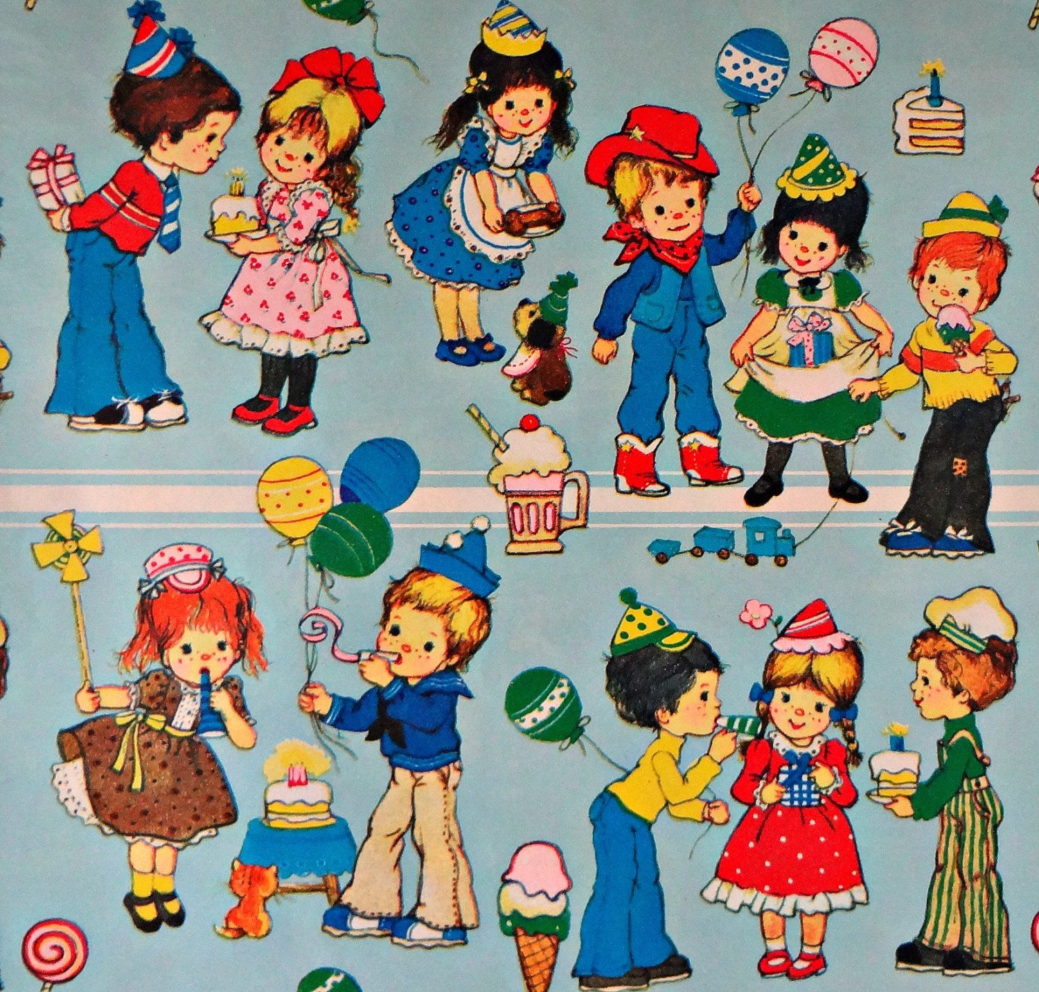 Vintage Retro Wrapping Paper 70s for kids birthday 1500—1433