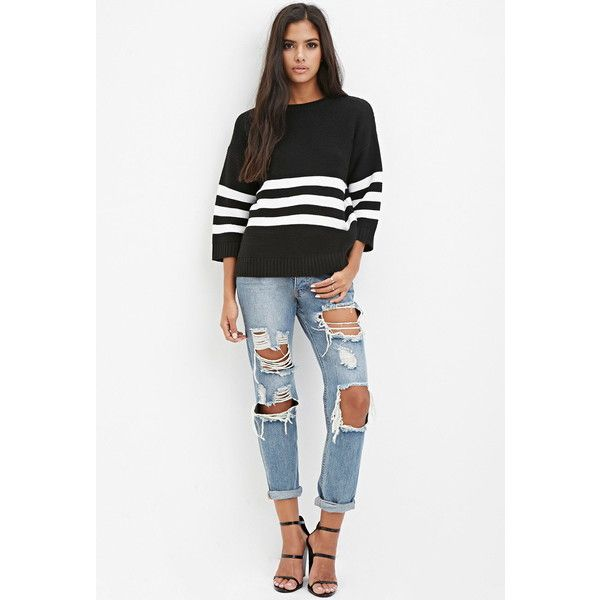 411e01a881 Forever 21 Striped Sweater ( 20) ❤ liked on Polyvore featuring tops ...