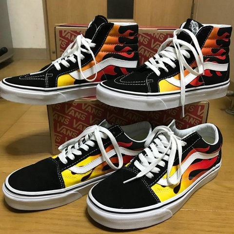 5f9493e823 Official Vans SK8-Hi X Flame Black Fire DT F11 High Top Vans For  Sale-www.vansauthenticskateshoes.com