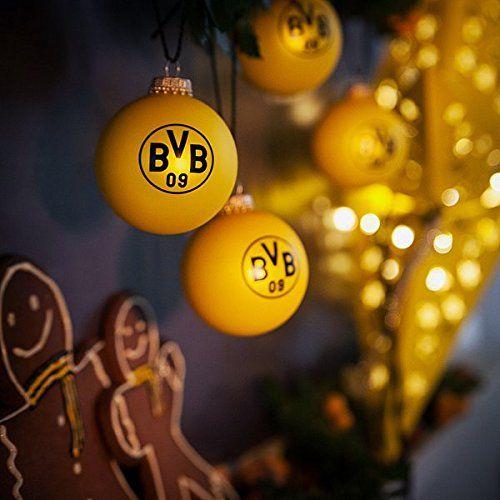 Bvb Weihnachtsbaum.Brauns Borussia Dortmund Weihnachtskugel 4er Set Bvb Schwarz Gelb