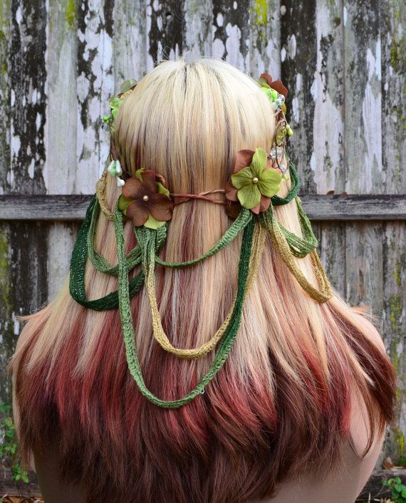 Surprising Woodland Bridal Hair Wreath Elven Flower Crown Green And Brown Hairstyle Inspiration Daily Dogsangcom
