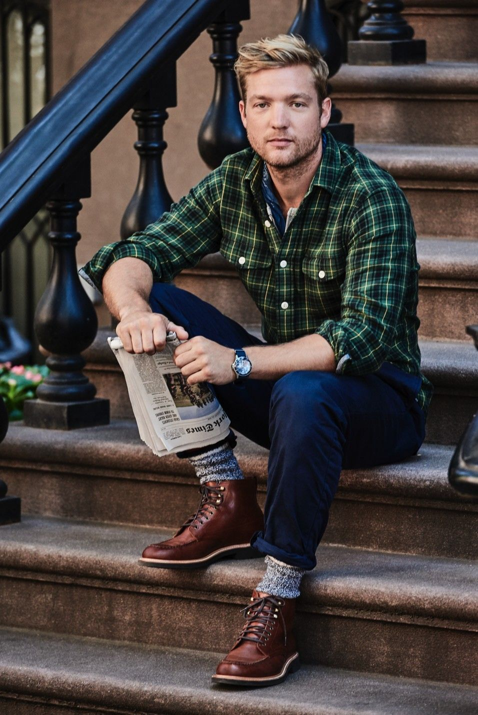 042f464a Wallace & Barnes Flannel shirt in green plaid with slim broken in short  sleeve henley, and Wallace & Barnes double-pleated relaxed fit military  chino