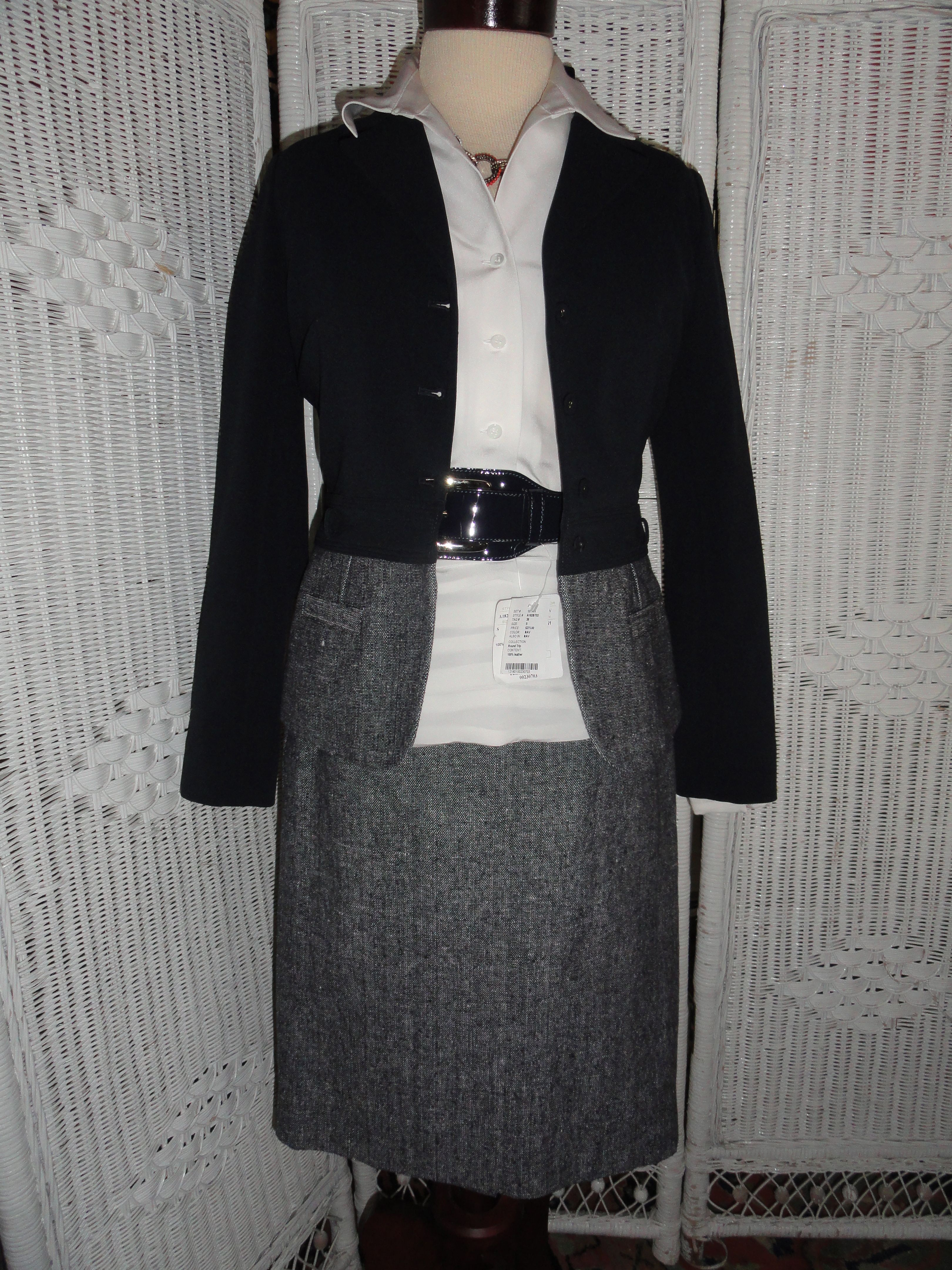 This is another ensemble created for Doncaster's 8 GR8 Style Pieces. Includes: Suit Jacket, Suit Skirt, White Blouse, belt and necklace.