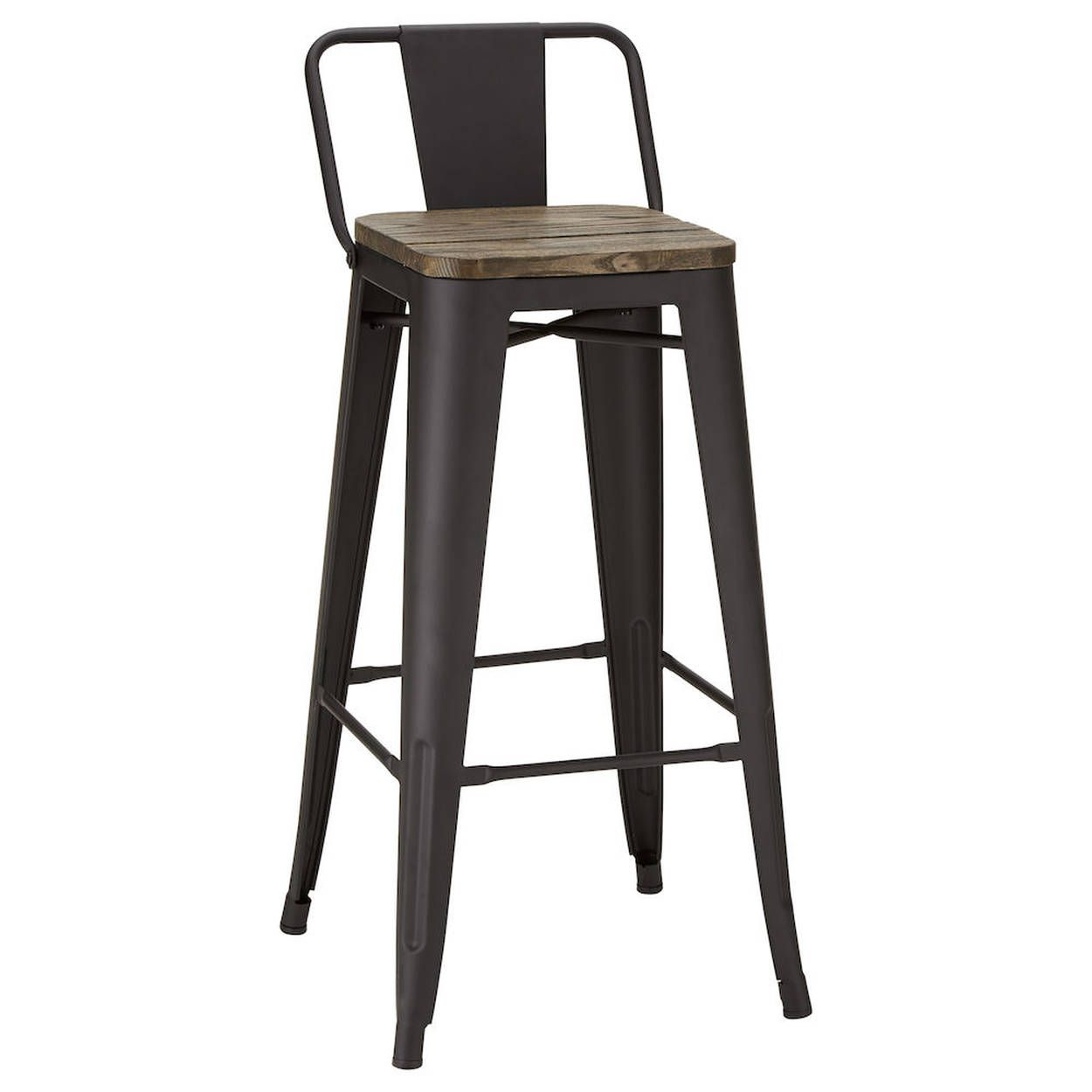 Solid Elm Wood And Metal Bar Stool Metal Bar Stools Rustic Bar