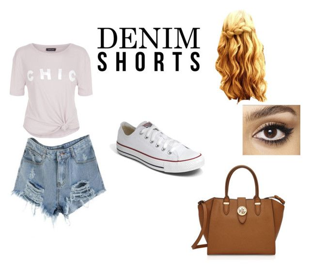 """""""Denim Short"""" by gryffindormuggle ❤ liked on Polyvore featuring New Look, Charlotte Tilbury, Converse, Ralph Lauren, jeanshorts, denimshorts and cutoffs"""